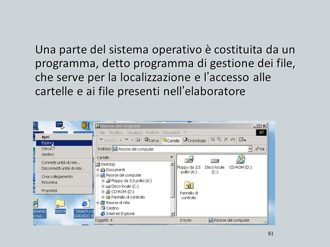 Una parte del sistema operativo è costituita da un programma, detto programma di gestione dei file, che serve per la localizzazione e l'accesso alle cartelle e ai file presenti nell'elaboratore