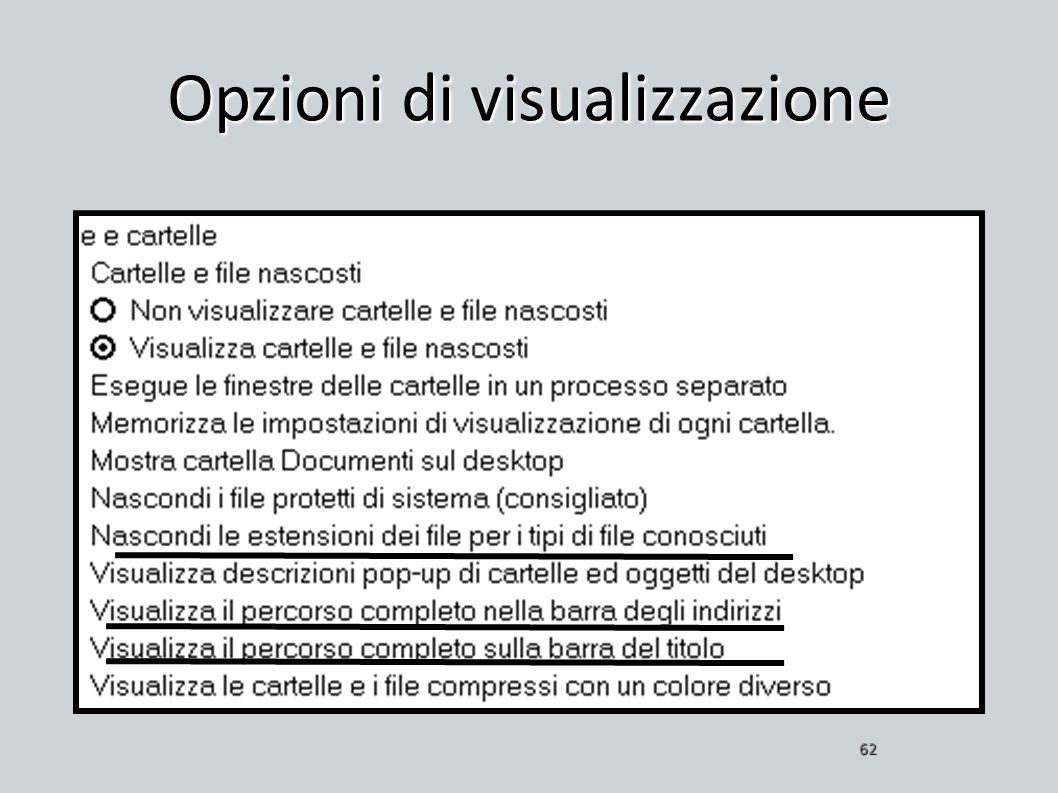 Opzioni di visualizzazione