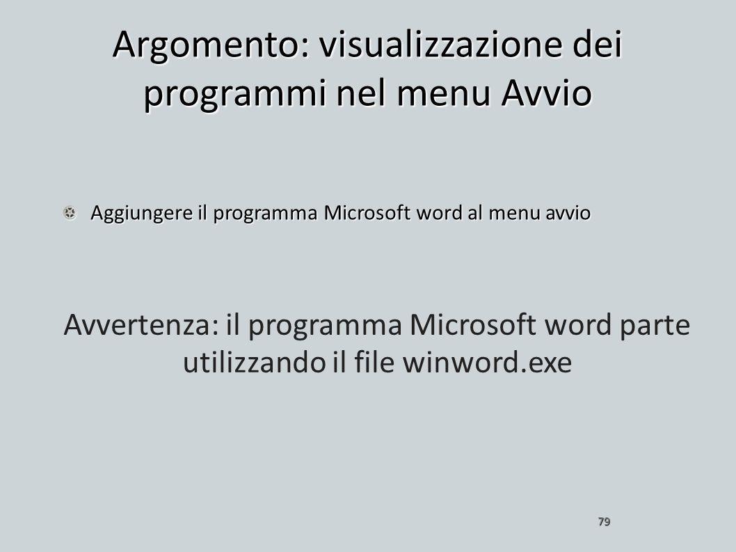 Argomento: visualizzazione dei programmi nel menu Avvio