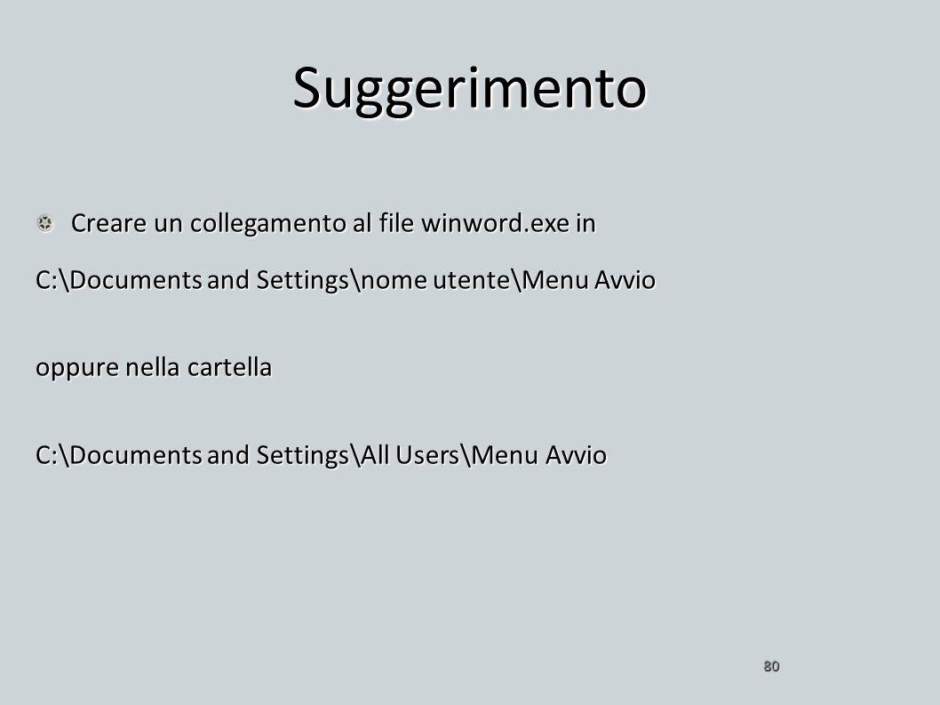 Suggerimento Creare un collegamento al file winword.exe in