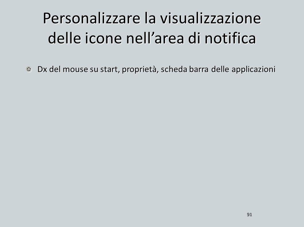 Personalizzare la visualizzazione delle icone nell'area di notifica