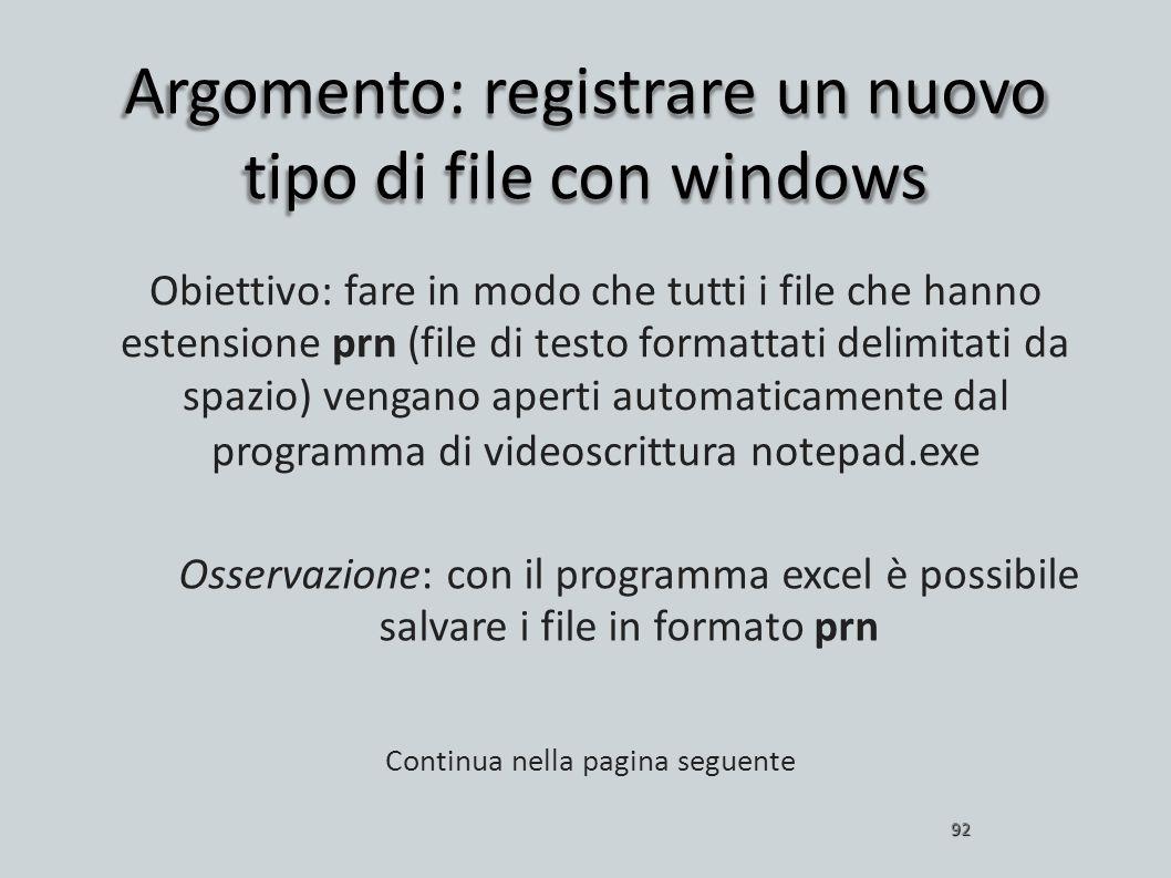 Argomento: registrare un nuovo tipo di file con windows