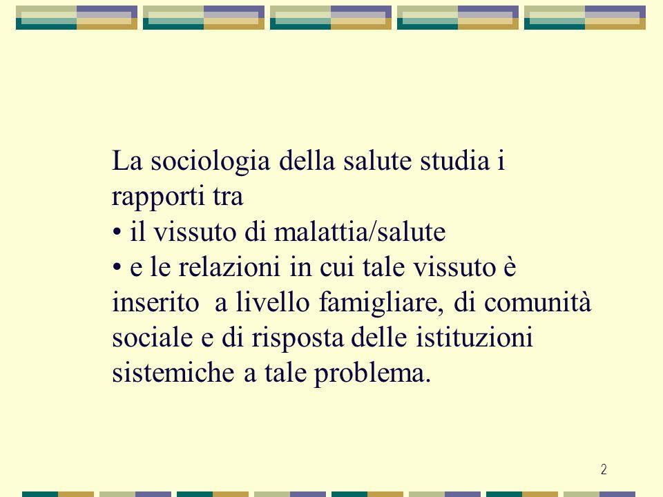 La sociologia della salute studia i rapporti tra