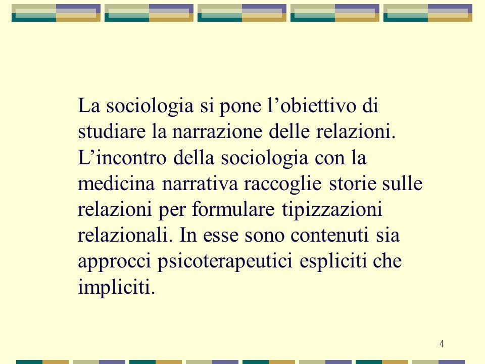 La sociologia si pone l'obiettivo di studiare la narrazione delle relazioni.