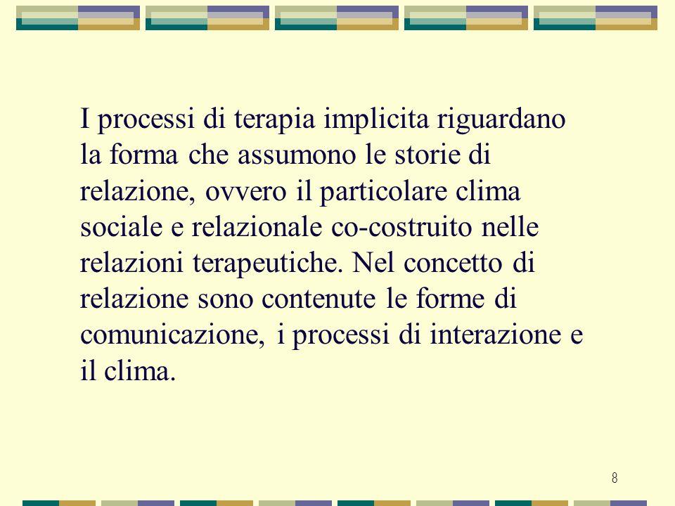I processi di terapia implicita riguardano la forma che assumono le storie di relazione, ovvero il particolare clima sociale e relazionale co-costruito nelle relazioni terapeutiche.