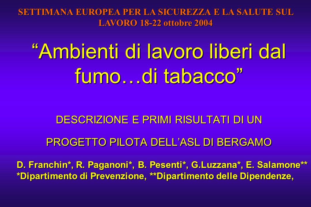 SETTIMANA EUROPEA PER LA SICUREZZA E LA SALUTE SUL LAVORO 18-22 ottobre 2004