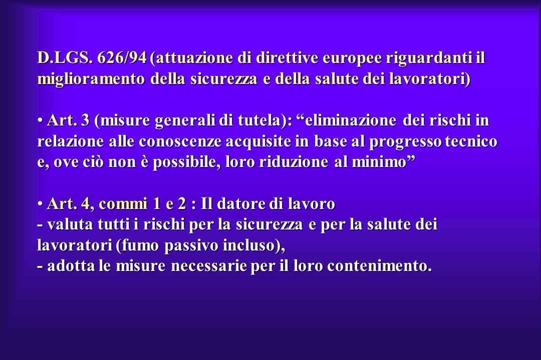 D.LGS. 626/94 (attuazione di direttive europee riguardanti il miglioramento della sicurezza e della salute dei lavoratori)
