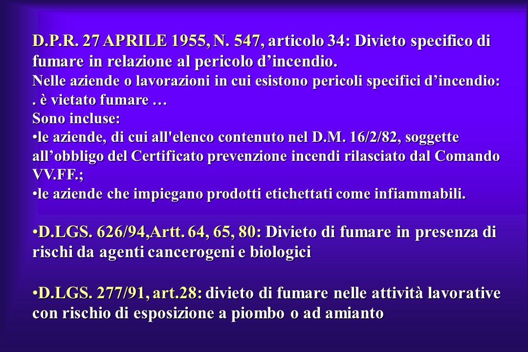 D.P.R. 27 APRILE 1955, N. 547, articolo 34: Divieto specifico di fumare in relazione al pericolo d'incendio.