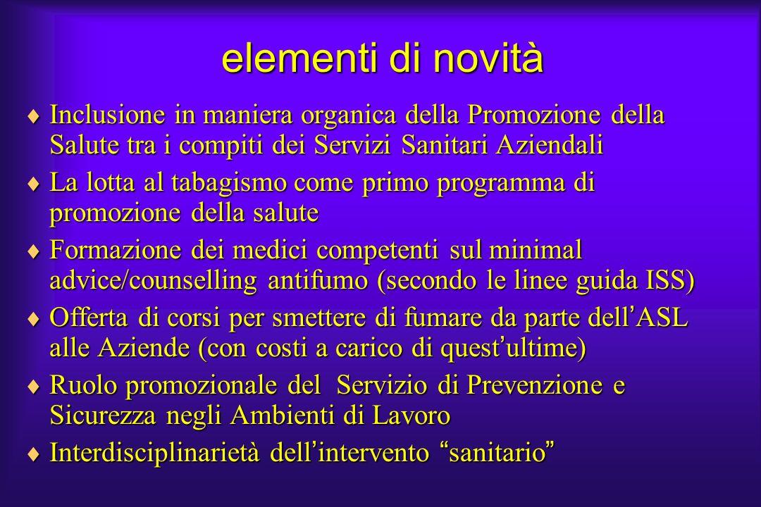 elementi di novità Inclusione in maniera organica della Promozione della Salute tra i compiti dei Servizi Sanitari Aziendali.