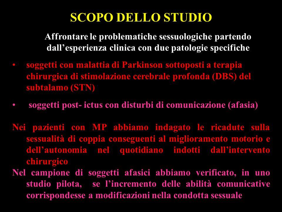 SCOPO DELLO STUDIO Affrontare le problematiche sessuologiche partendo dall'esperienza clinica con due patologie specifiche.