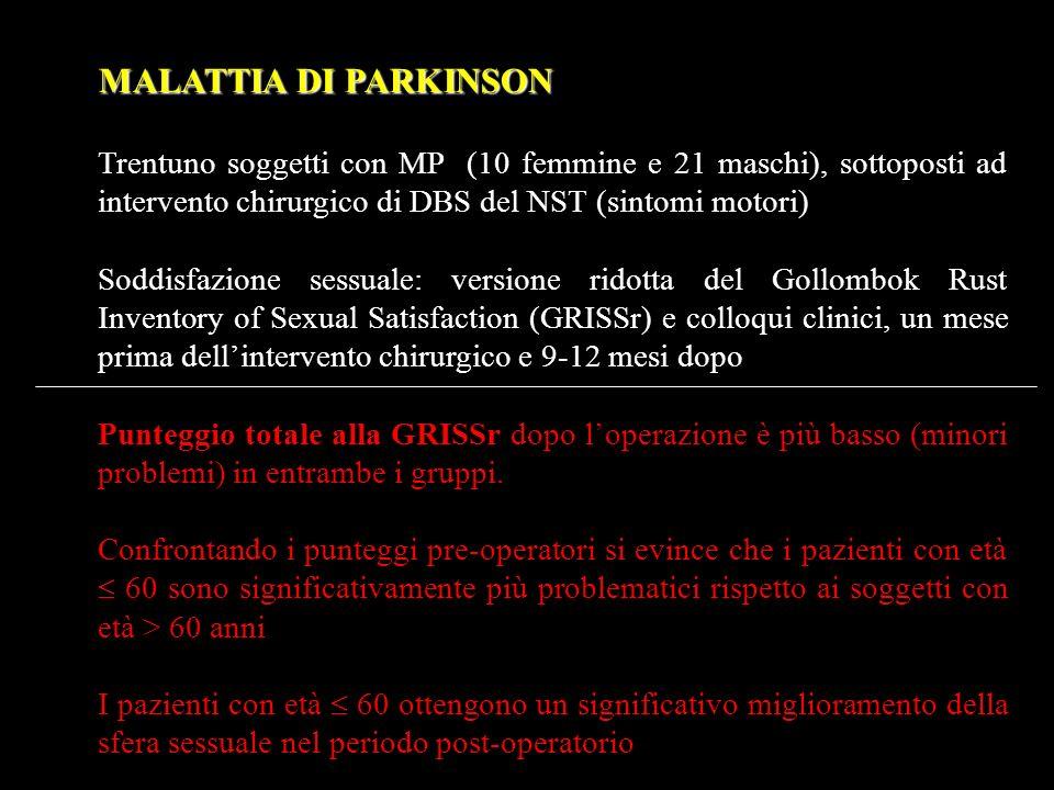 MALATTIA DI PARKINSON Trentuno soggetti con MP (10 femmine e 21 maschi), sottoposti ad intervento chirurgico di DBS del NST (sintomi motori)