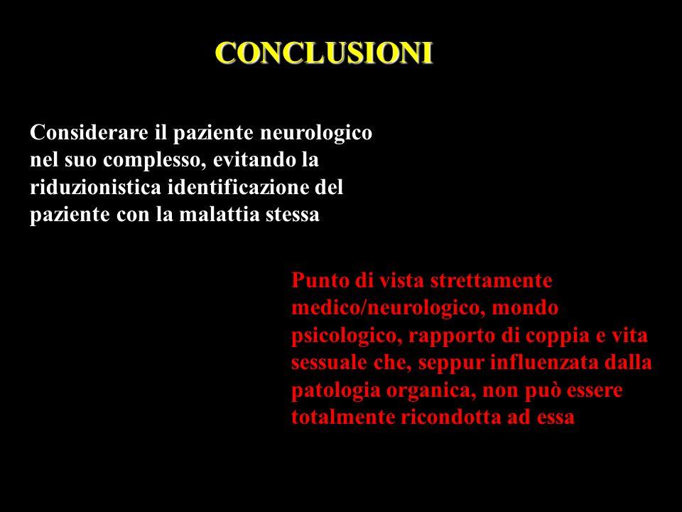CONCLUSIONI Considerare il paziente neurologico nel suo complesso, evitando la riduzionistica identificazione del paziente con la malattia stessa.