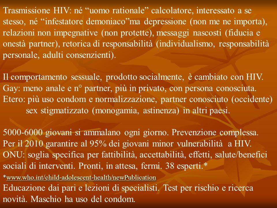 Il comportamento sessuale, prodotto socialmente, è cambiato con HIV.