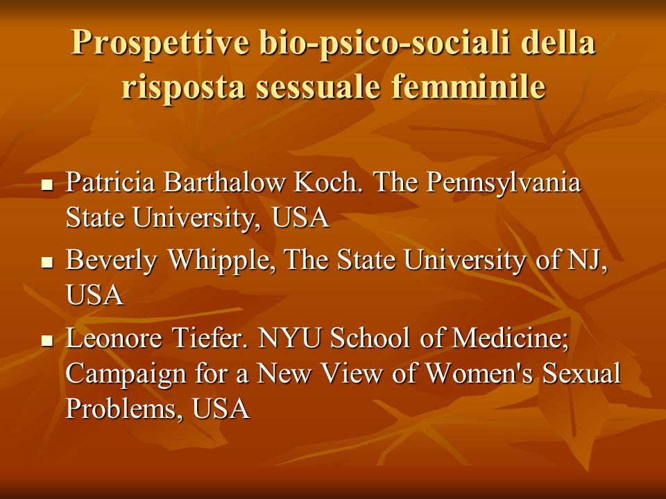 Prospettive bio-psico-sociali della risposta sessuale femminile