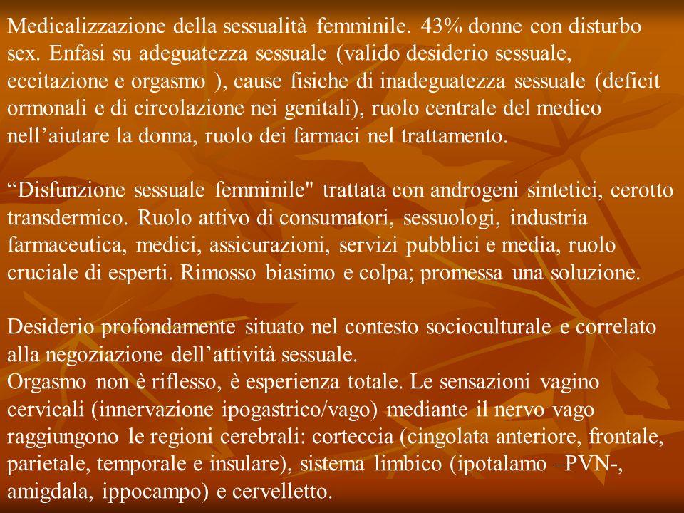 Medicalizzazione della sessualità femminile. 43% donne con disturbo sex. Enfasi su adeguatezza sessuale (valido desiderio sessuale, eccitazione e orgasmo ), cause fisiche di inadeguatezza sessuale (deficit ormonali e di circolazione nei genitali), ruolo centrale del medico nell'aiutare la donna, ruolo dei farmaci nel trattamento.