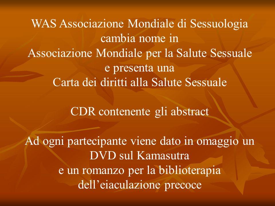 WAS Associazione Mondiale di Sessuologia cambia nome in