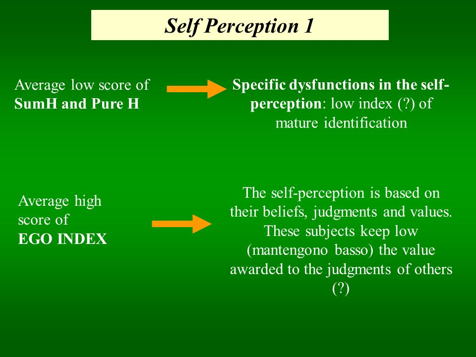 Self Perception 1 Average low score of