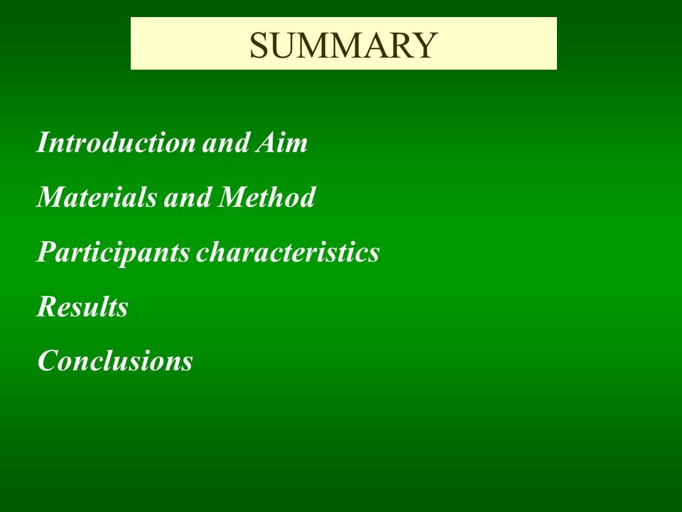 SUMMARY Introduction and Aim Materials and Method