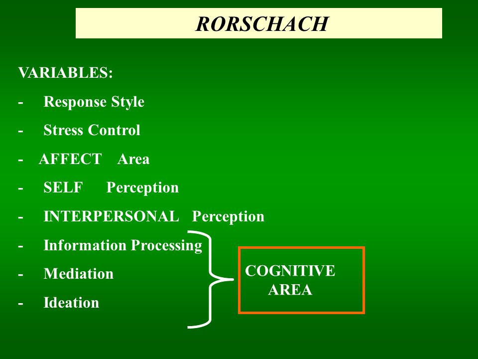 RORSCHACH VARIABLES: - Response Style - Stress Control - AFFECT Area