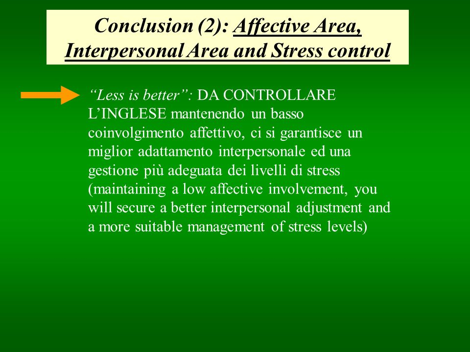 Conclusion (2): Affective Area, Interpersonal Area and Stress control