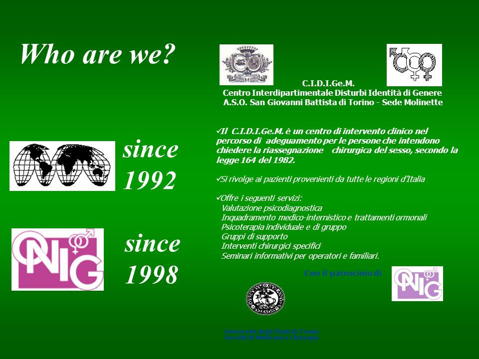 Who are we since 1992 since 1998 C.I.D.I.Ge.M.