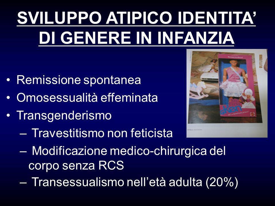 SVILUPPO ATIPICO IDENTITA' DI GENERE IN INFANZIA