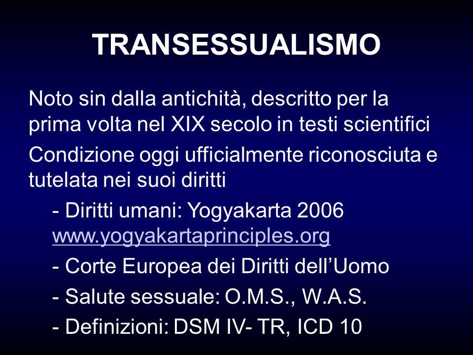 TRANSESSUALISMO Noto sin dalla antichità, descritto per la prima volta nel XIX secolo in testi scientifici.