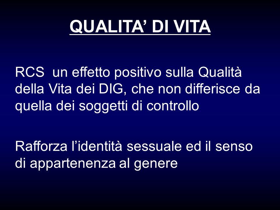 QUALITA' DI VITA RCS un effetto positivo sulla Qualità della Vita dei DIG, che non differisce da quella dei soggetti di controllo.