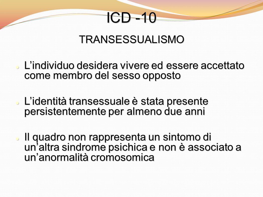 ICD -10TRANSESSUALISMO. L'individuo desidera vivere ed essere accettato come membro del sesso opposto.