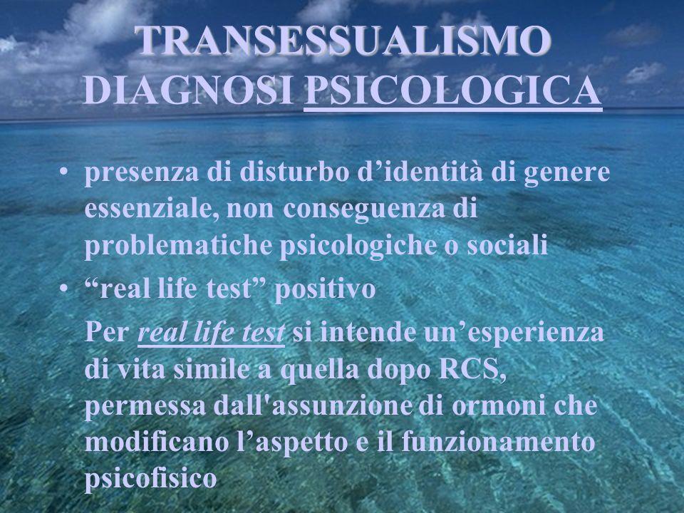 TRANSESSUALISMO DIAGNOSI PSICOLOGICA