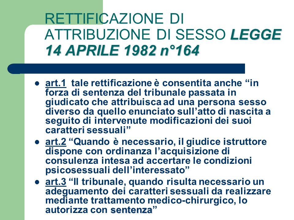 RETTIFICAZIONE DI ATTRIBUZIONE DI SESSO LEGGE 14 APRILE 1982 n°164