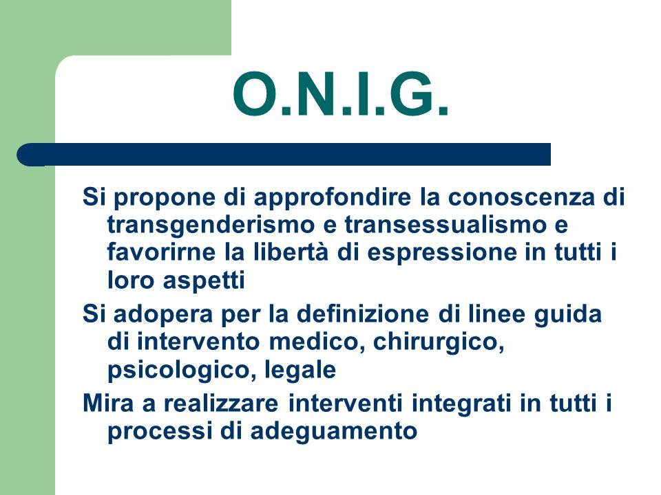 O.N.I.G. Si propone di approfondire la conoscenza di transgenderismo e transessualismo e favorirne la libertà di espressione in tutti i loro aspetti.