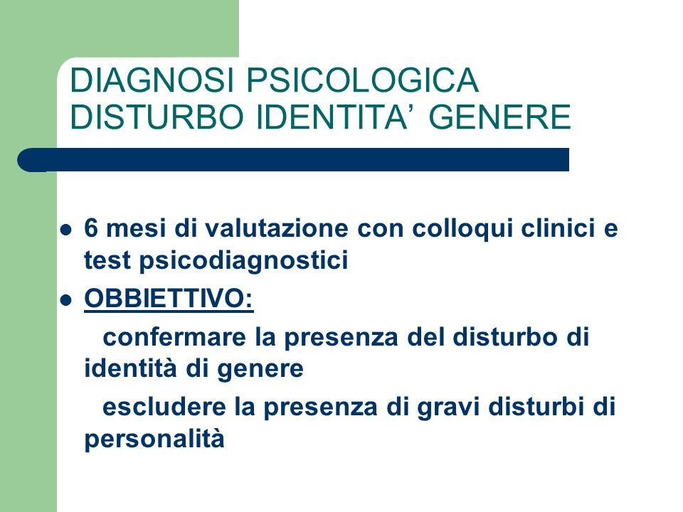 DIAGNOSI PSICOLOGICA DISTURBO IDENTITA' GENERE
