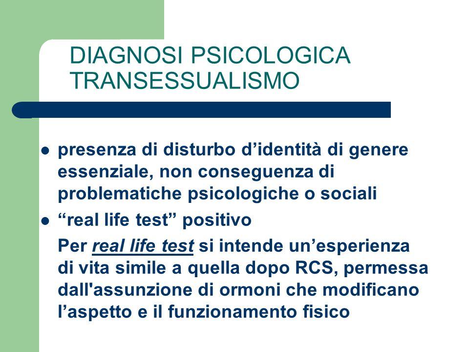 DIAGNOSI PSICOLOGICA TRANSESSUALISMO