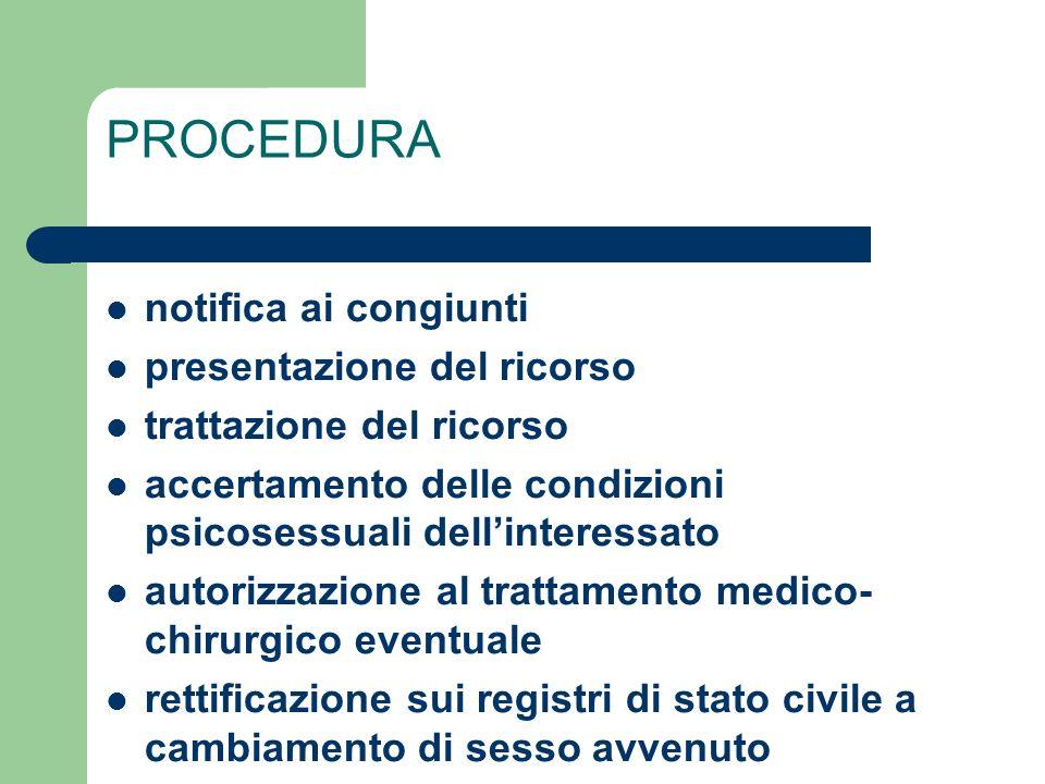 PROCEDURA notifica ai congiunti presentazione del ricorso