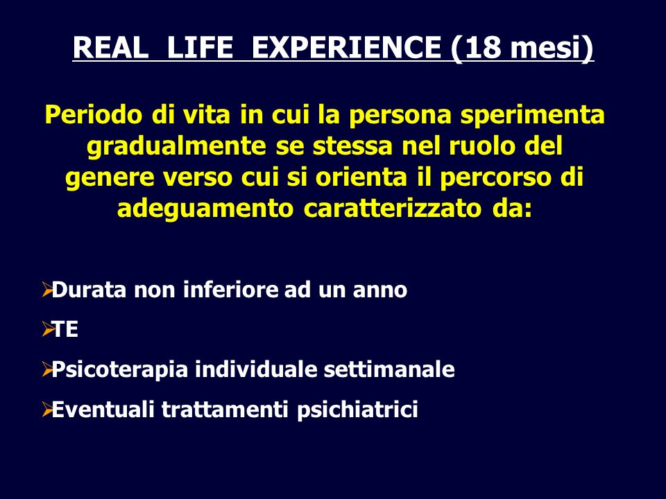 REAL LIFE EXPERIENCE (18 mesi)