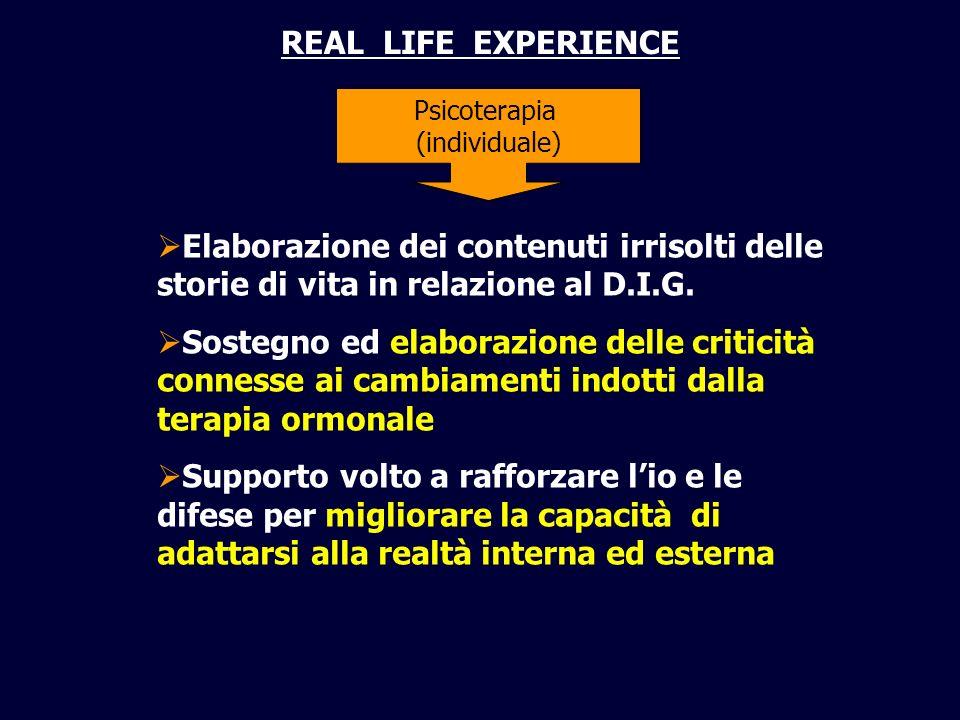 REAL LIFE EXPERIENCE 11/02/09. Psicoterapia. (individuale) Elaborazione dei contenuti irrisolti delle storie di vita in relazione al D.I.G.