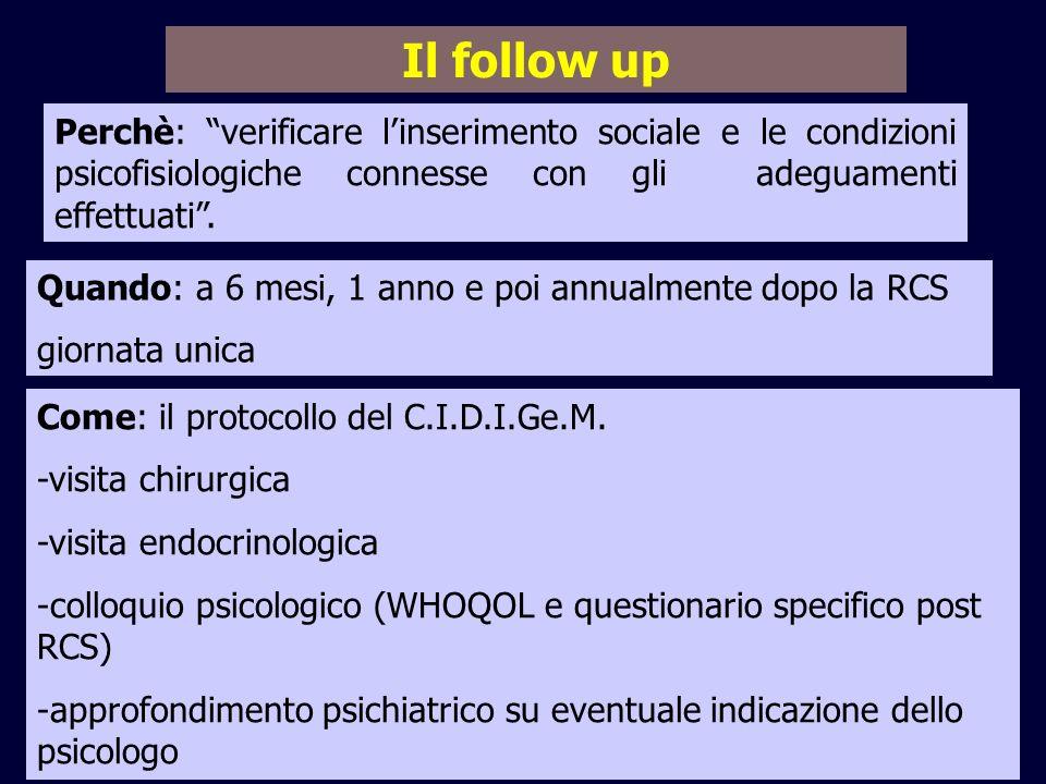 11/02/09 Il follow up. Perchè: verificare l'inserimento sociale e le condizioni psicofisiologiche connesse con gli adeguamenti effettuati .