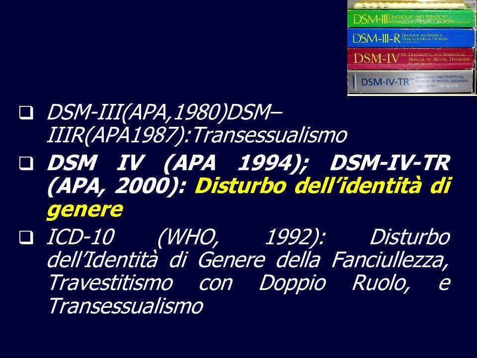 DSM-III(APA,1980)DSM– IIIR(APA1987):Transessualismo