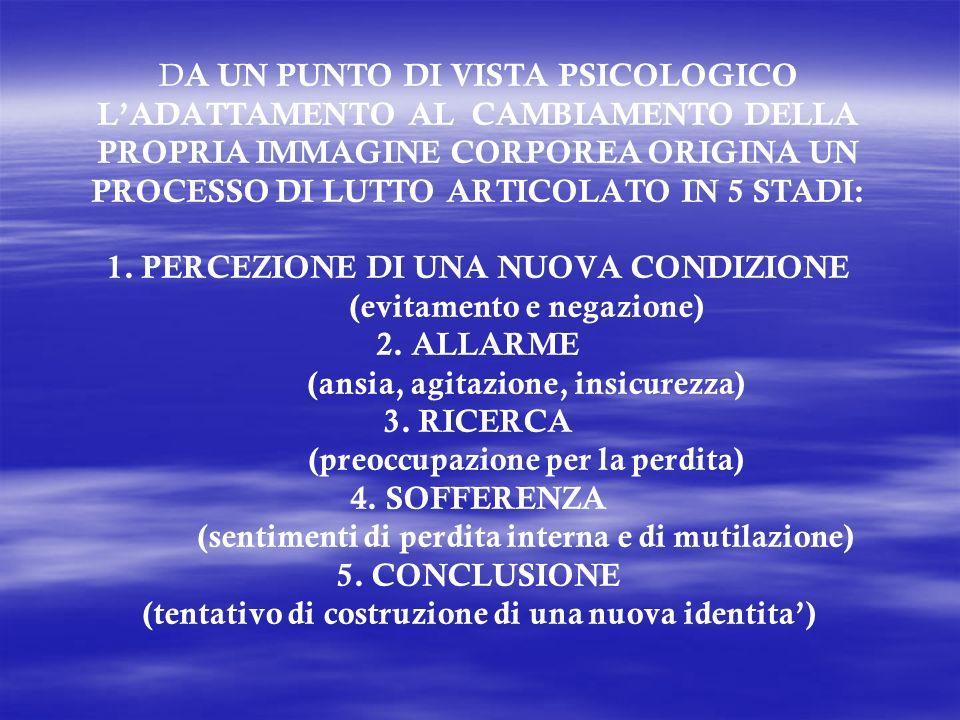 DA UN PUNTO DI VISTA PSICOLOGICO L'ADATTAMENTO AL CAMBIAMENTO DELLA PROPRIA IMMAGINE CORPOREA ORIGINA UN PROCESSO DI LUTTO ARTICOLATO IN 5 STADI: 1.