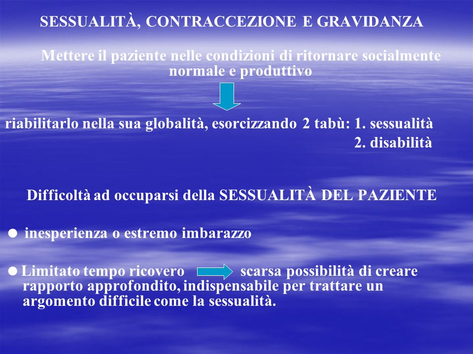SESSUALITÀ, CONTRACCEZIONE E GRAVIDANZA
