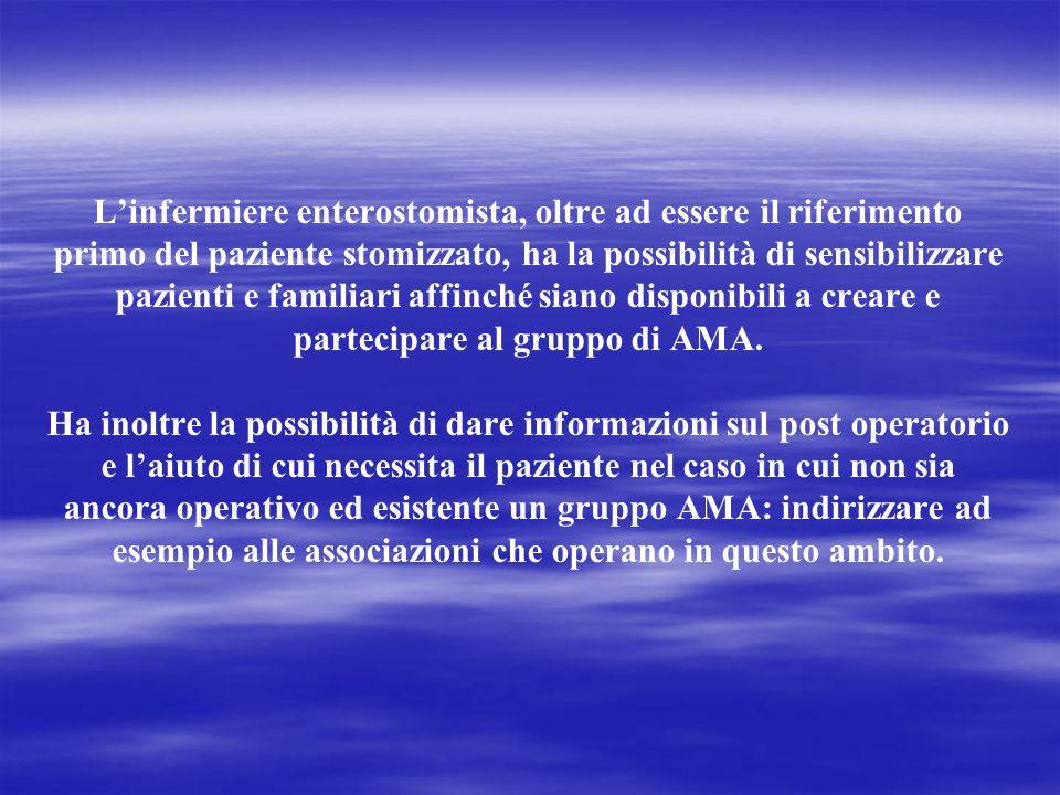L'infermiere enterostomista, oltre ad essere il riferimento primo del paziente stomizzato, ha la possibilità di sensibilizzare pazienti e familiari affinché siano disponibili a creare e partecipare al gruppo di AMA.