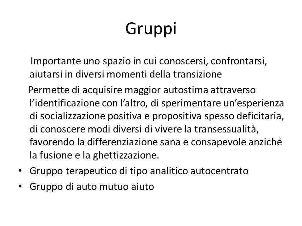 Gruppi Importante uno spazio in cui conoscersi, confrontarsi, aiutarsi in diversi momenti della transizione.