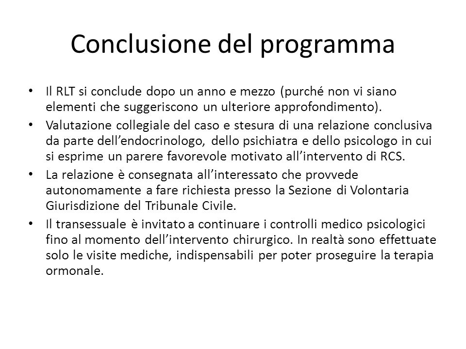 Conclusione del programma