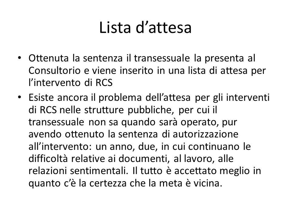 Lista d'attesa Ottenuta la sentenza il transessuale la presenta al Consultorio e viene inserito in una lista di attesa per l'intervento di RCS.
