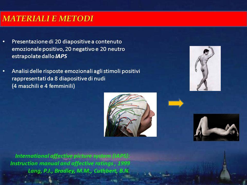MATERIALI E METODI Presentazione di 20 diapositive a contenuto emozionale positivo, 20 negativo e 20 neutro estrapolate dallo IAPS.