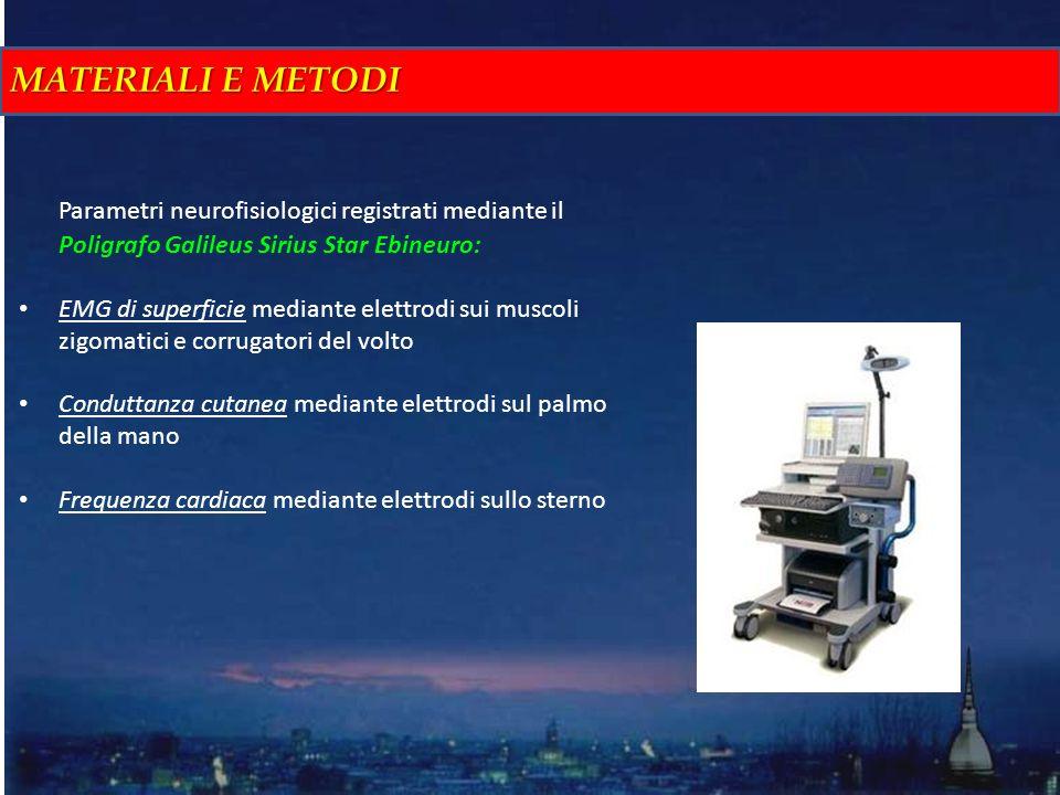 MATERIALI E METODI Parametri neurofisiologici registrati mediante il Poligrafo Galileus Sirius Star Ebineuro: