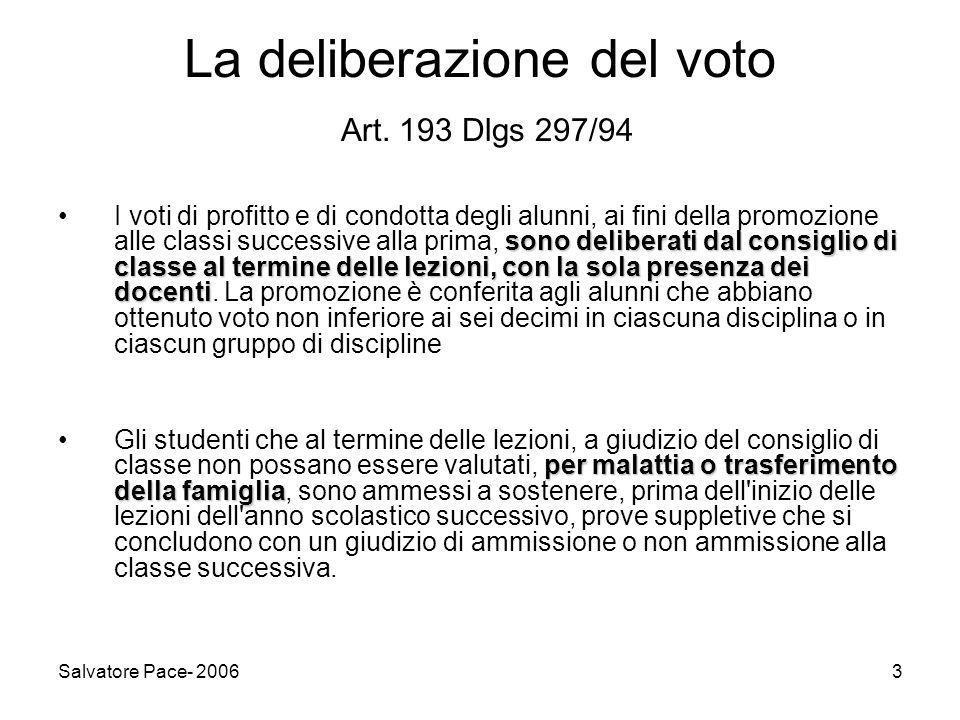 La deliberazione del voto Art. 193 Dlgs 297/94