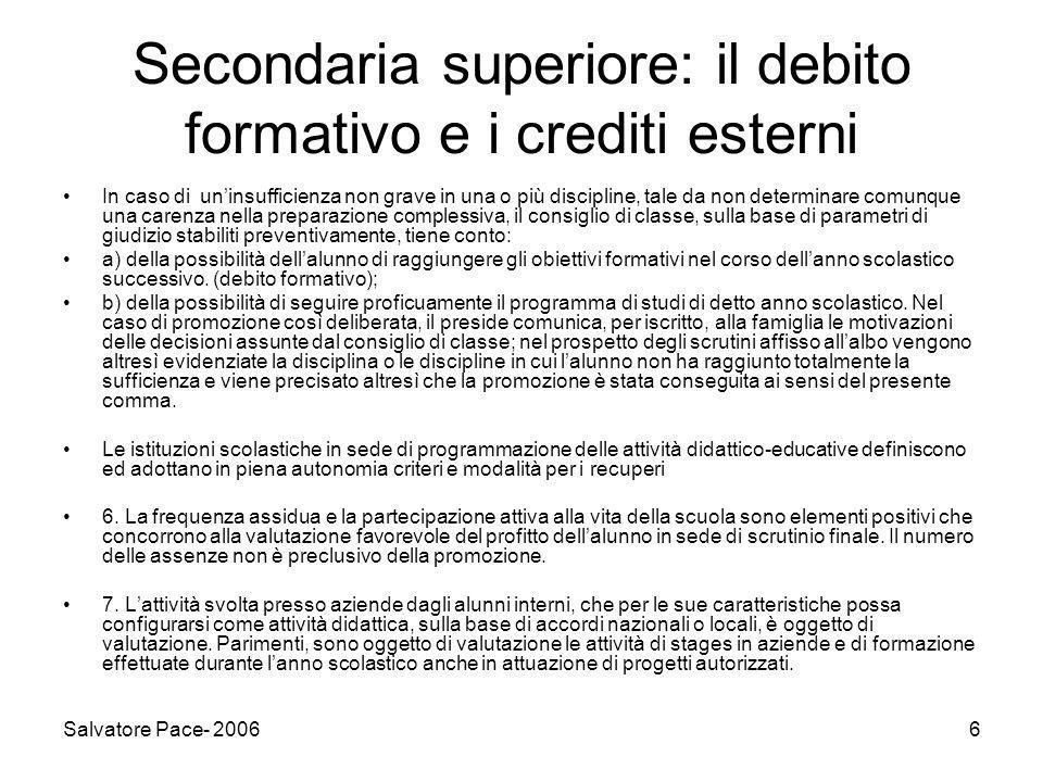Secondaria superiore: il debito formativo e i crediti esterni