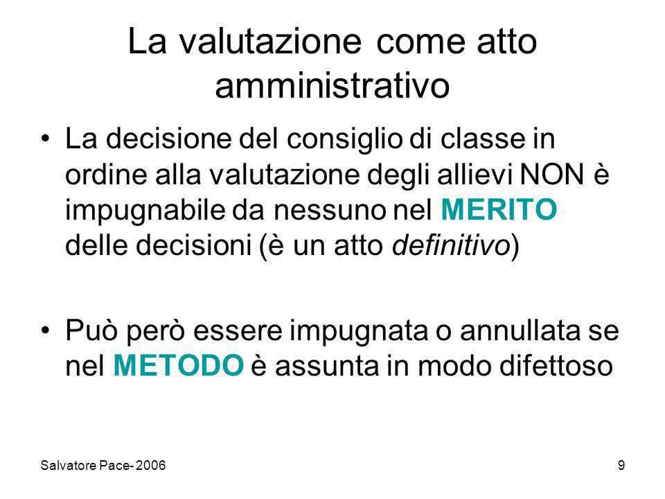La valutazione come atto amministrativo